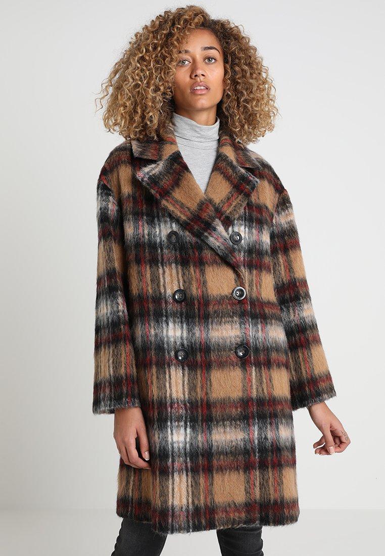 Sisley - FLUFFY COCOON CHECK COAT - Classic coat - beige
