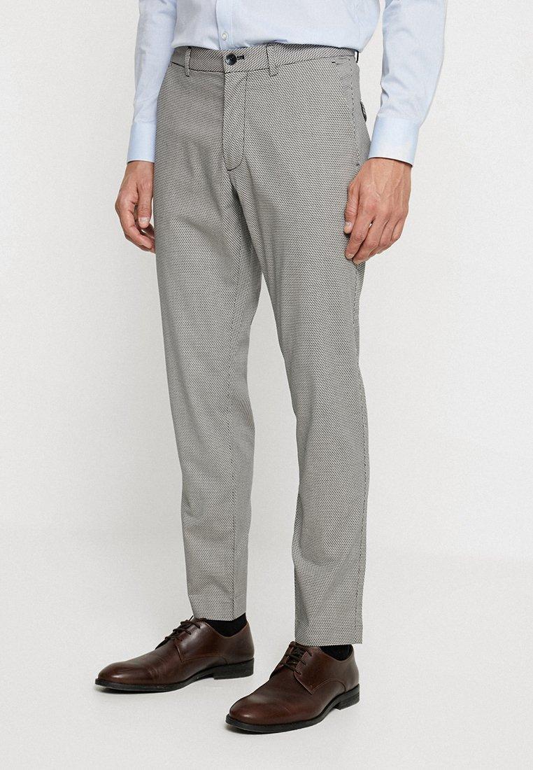 Sisley - SLIM FIT - Suit trousers - black/white