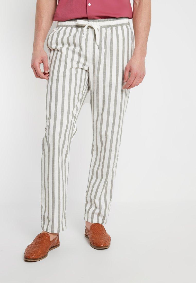 Sisley - Pantalon classique - white/khaki