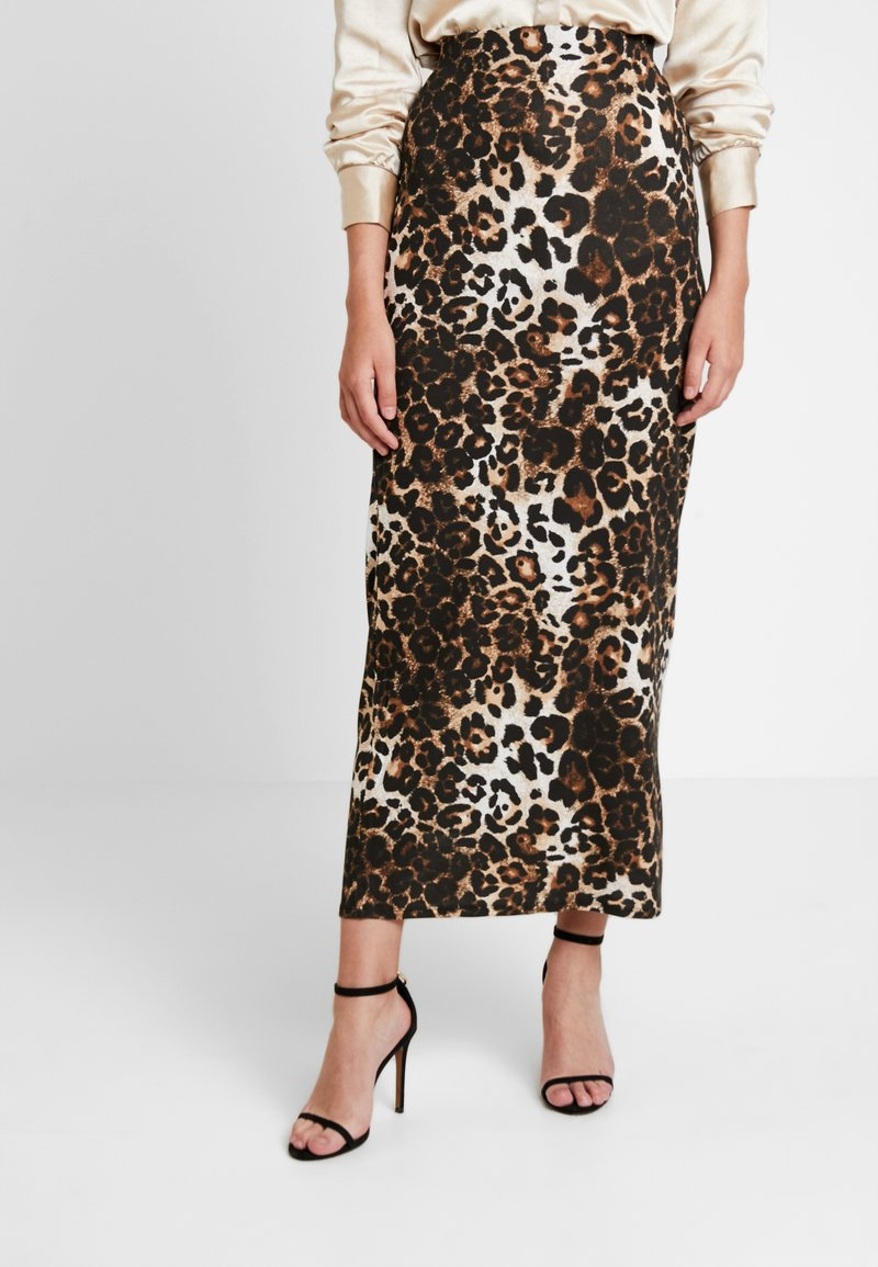Dorothy Perkins - ANIMAL PRINT SKIRT - Maxi skirt - brown