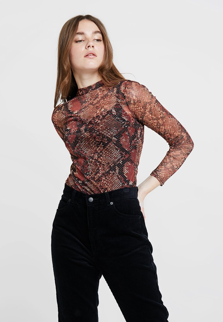 Dorothy Perkins - SNAKE HIGH NECK - T-shirt à manches longues - red