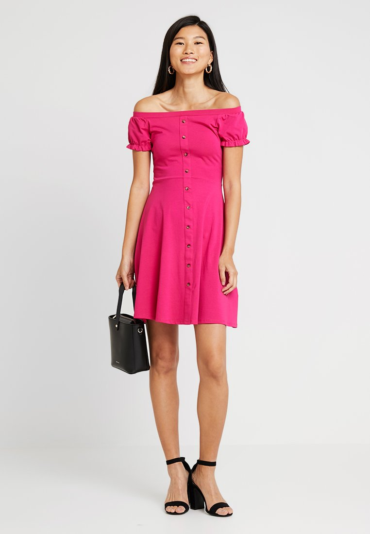 Dorothy Perkins - PLAIN  BUTTON THROUGH BARDOT - Shirt dress - pink