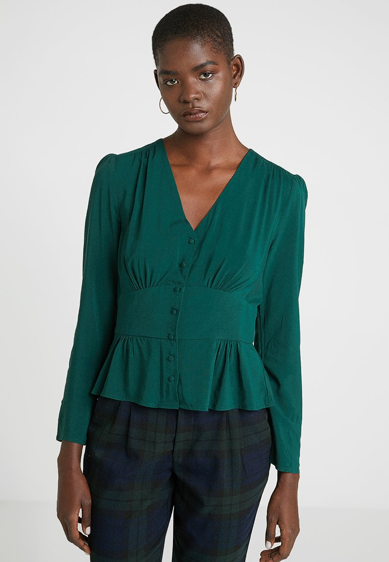 Dorothy Perkins - BUTTON THROUGH - Bluse - forest green