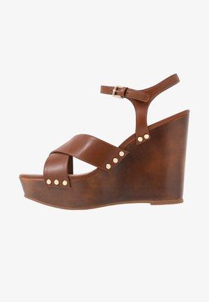 DESBET - Sandály na vysokém podpatku - medium brown