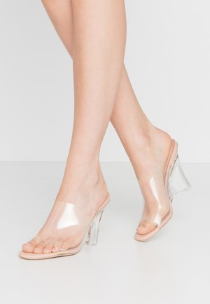Heeled mules - clear