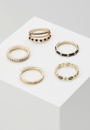 TRESCOE 5 PACK - Anillo - black/clear/gold-coloured