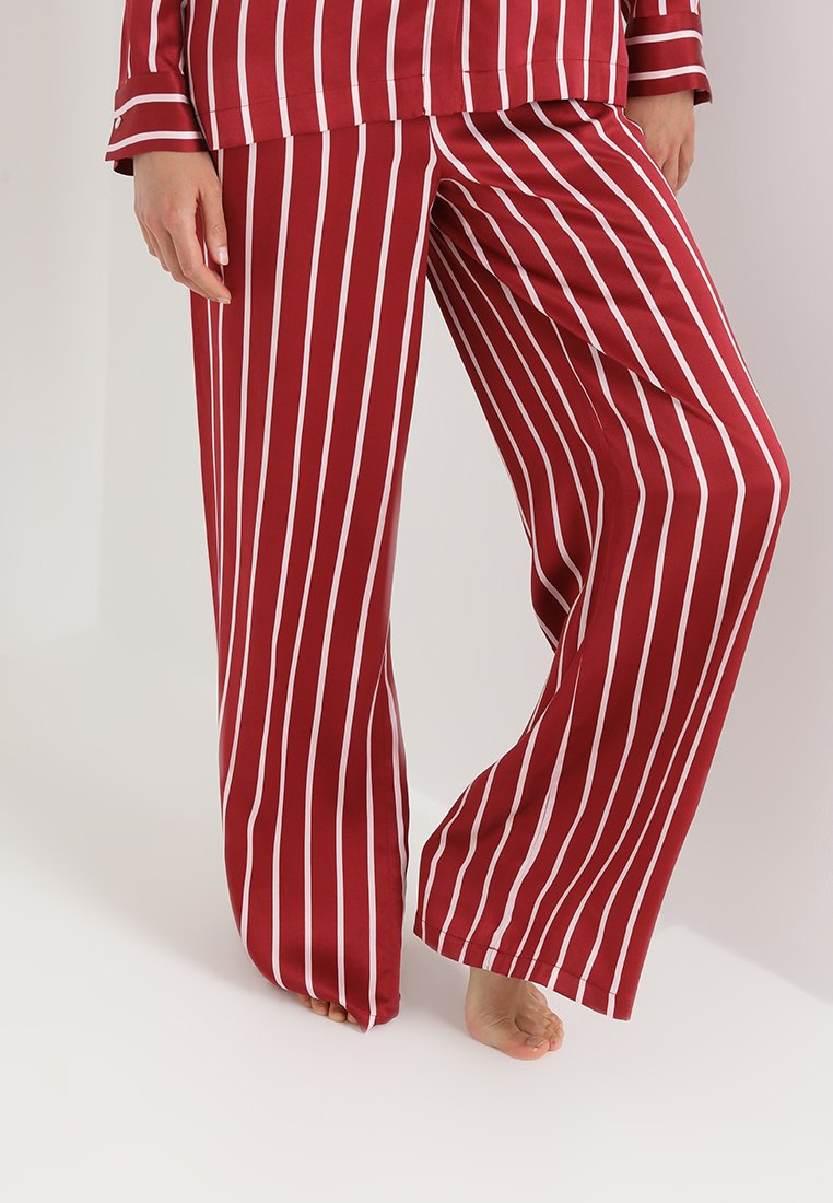 ASCENO - WIDE LEG TROUSER - Nachtwäsche Hose - berry stripe