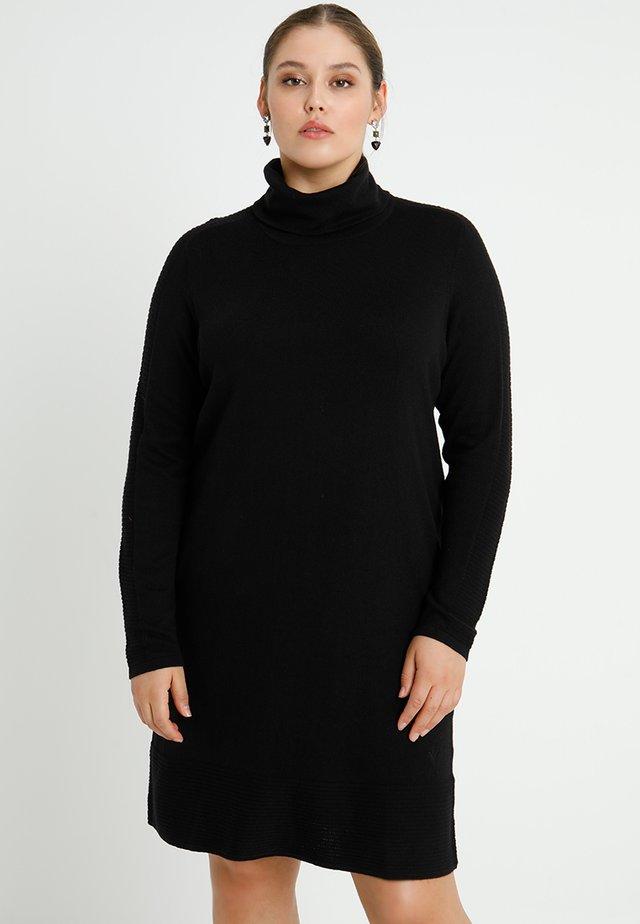 ROLLNECK DRESS LONG SLEEVES - Pletené šaty - black