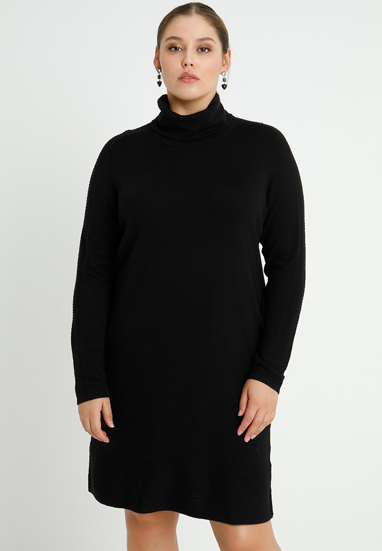 ADIA - ROLLNECK DRESS LONG SLEEVES - Neulemekko - black