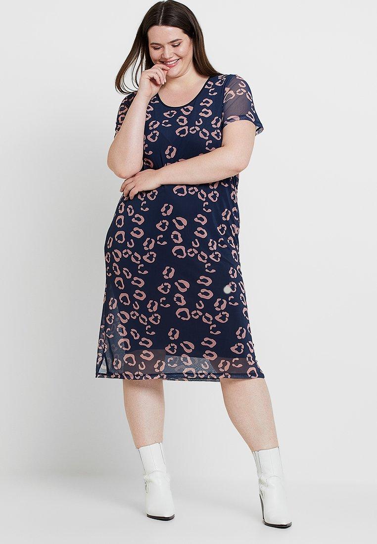 ADIA - LEOPARD PRINTED SLEEVE DRESS - Vestito di maglina - dark navy