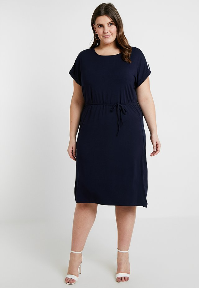 DRESS WITH SELF-TIE - Jerseykjole - dark navy