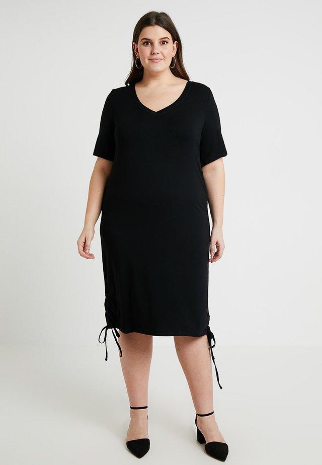 SIDE TIE DRESS - Jerseyklänning - black