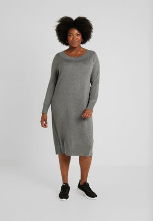 DRESS O NECK SLEEVES - Robe pull - grey melange