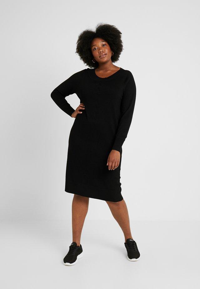 DRESS O NECK SLEEVES - Strickkleid - black