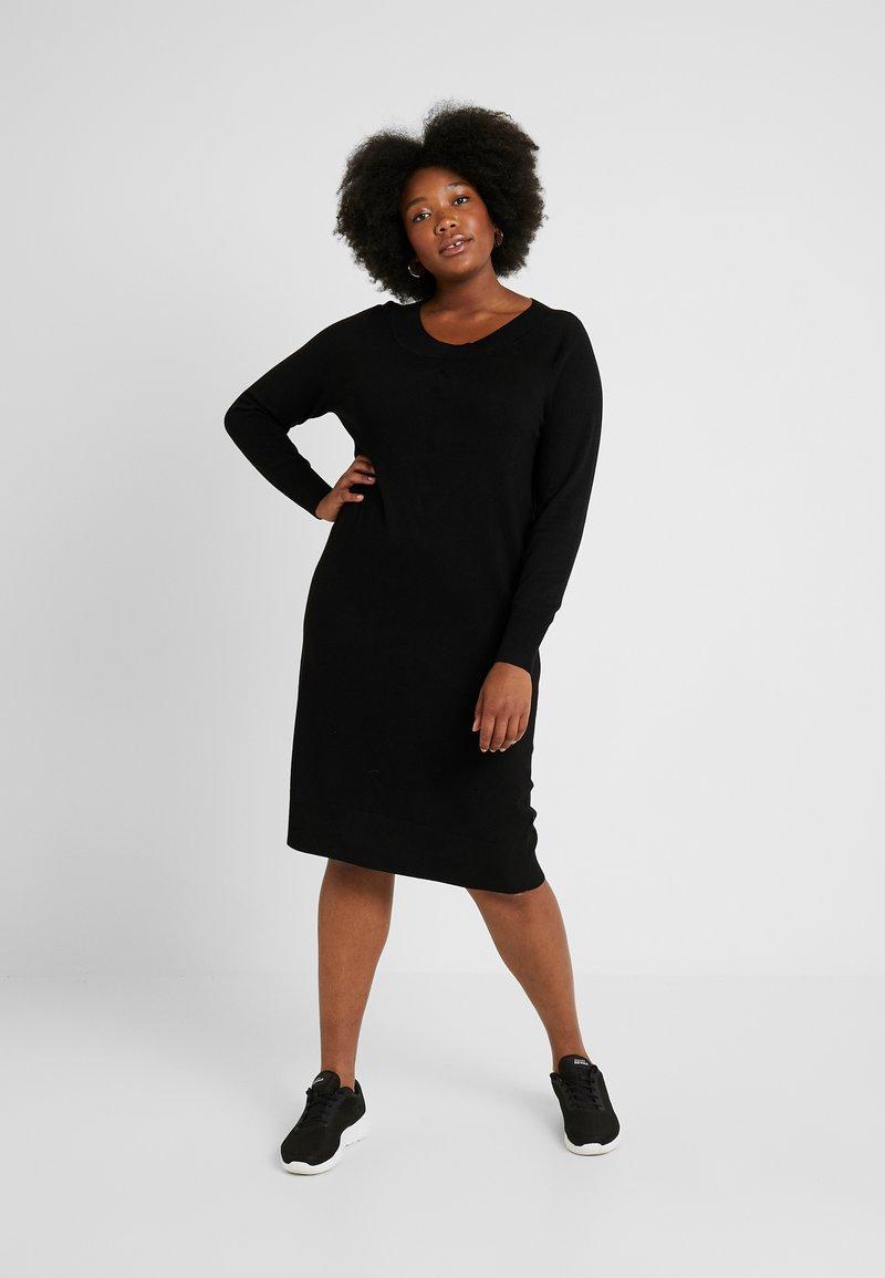 ADIA - DRESS O NECK SLEEVES - Robe pull - black
