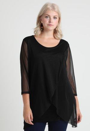 CROSSOVER IN THE FRONT - Long sleeved top - black