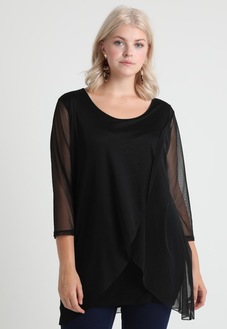 ADIA - CROSSOVER IN THE FRONT - Langærmede T-shirts - black