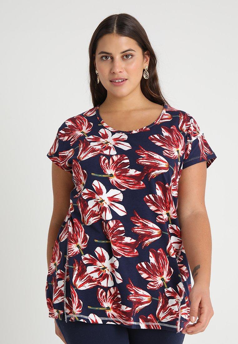 ADIA - FLOWER PRINT SHORT SLEEVE - Camiseta estampada - midnight navy