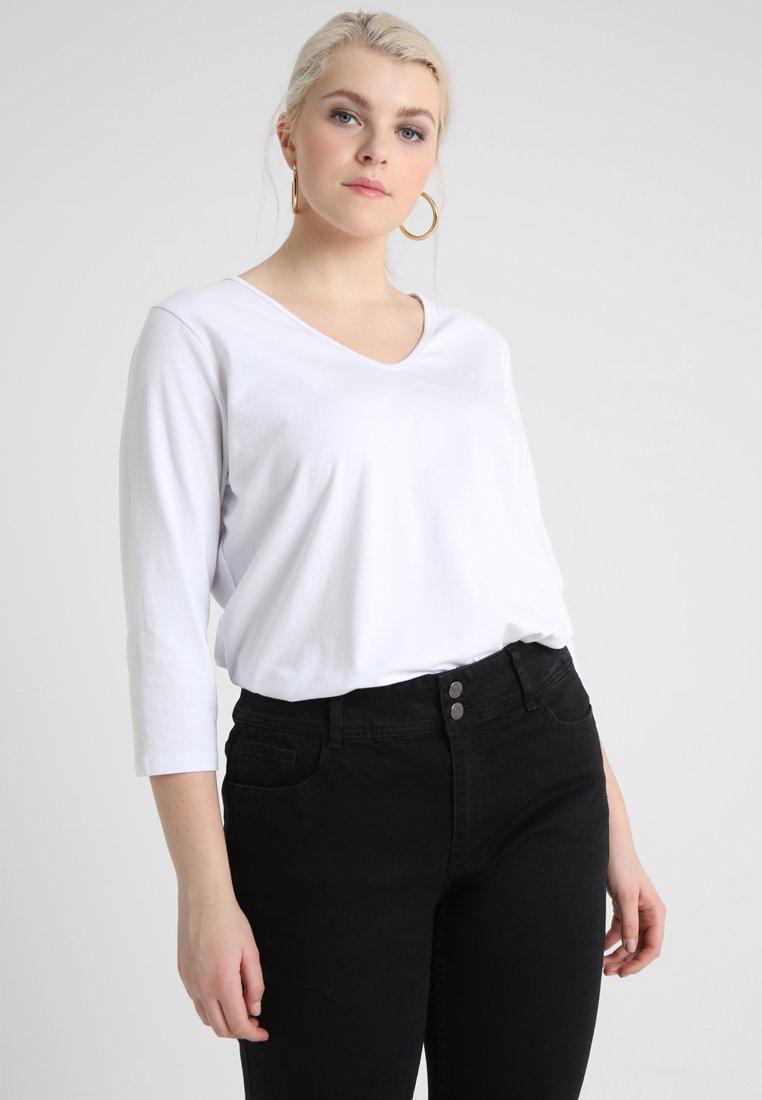 ADIA - 3/4 SLEEVE V NECK - T-shirt à manches longues - white