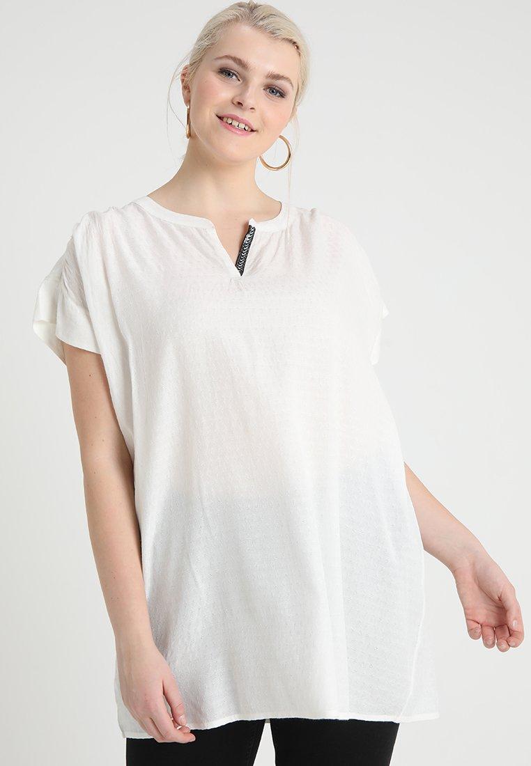 ADIA - ALEXA DOBBY V NECK BLOUSE - Tunica - off white