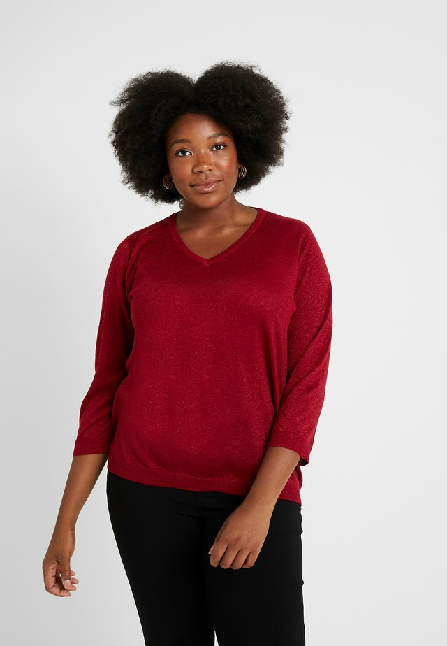 V NECK 3/4 SLEEVES - Trui - red rio