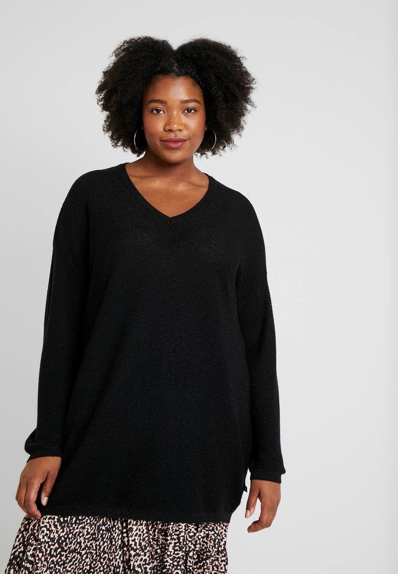 ADIA - V NECK SLEEVES - Jersey de punto - black