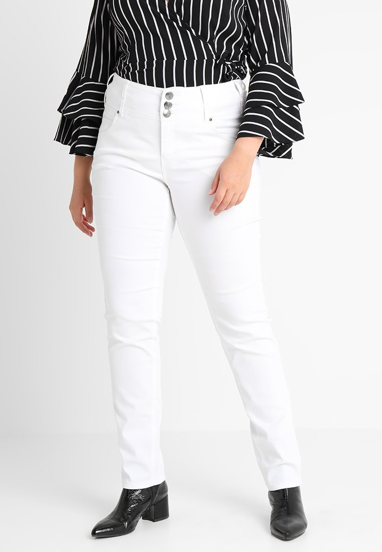 ADIA - ROME BUTTON DETAIL - Jeans Skinny Fit - white