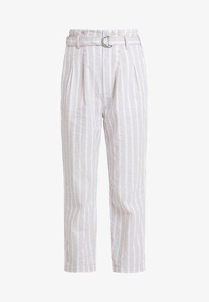 PAPERBAG WAIST PANT - Trousers - cream stripe