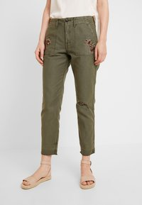 Abercrombie & Fitch - EMBROIDERY - Kalhoty - olive - 0