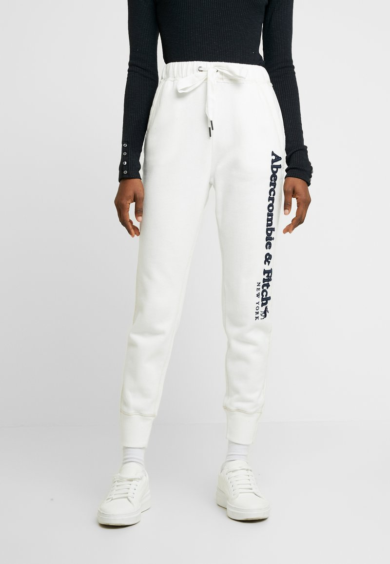 Abercrombie & Fitch - LONG LIFE - Tracksuit bottoms - white