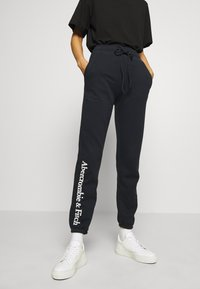 Abercrombie & Fitch - LOGO BANDED  - Tracksuit bottoms - navy - 0