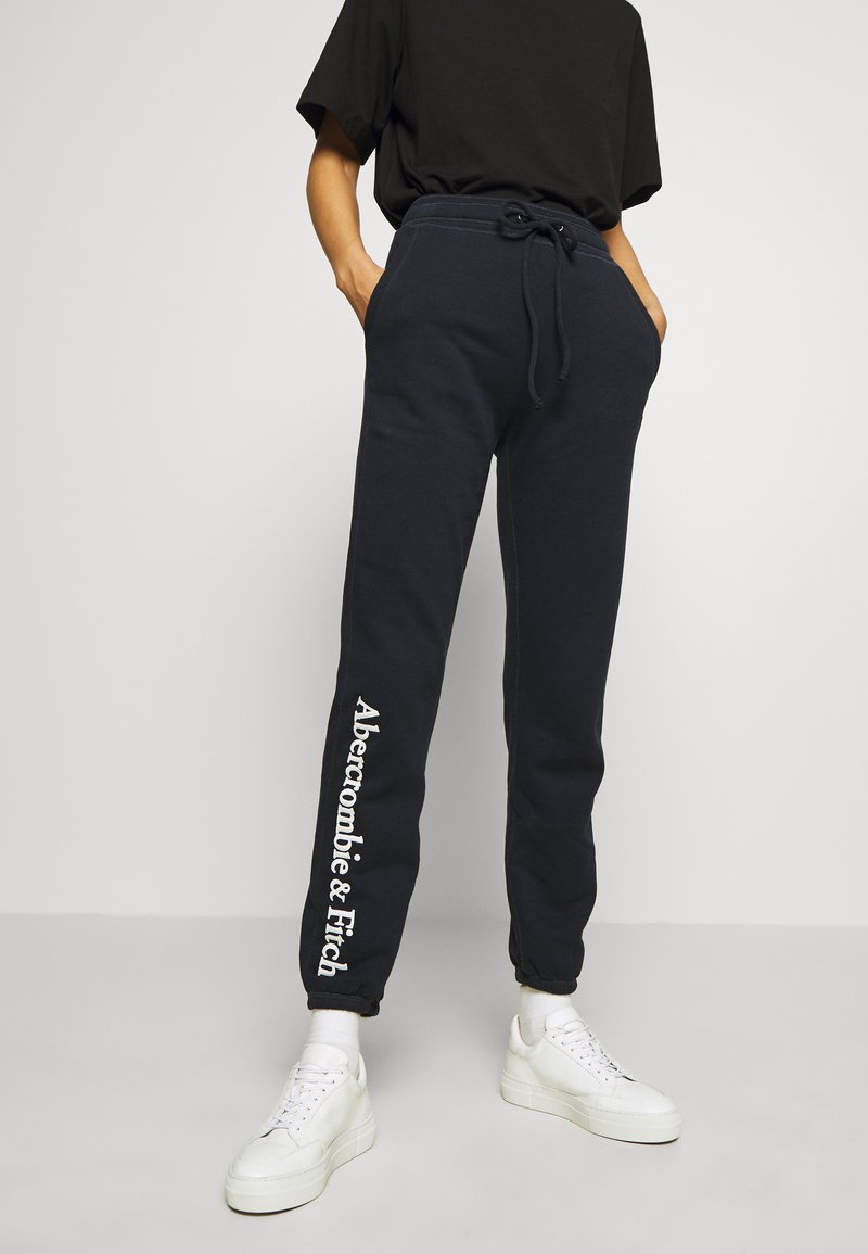 Abercrombie & Fitch - LOGO BANDED  - Tracksuit bottoms - navy