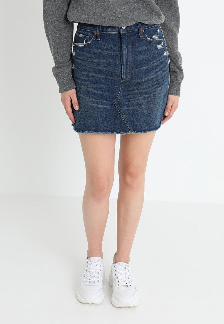 Abercrombie & Fitch RINSE - Gonna di jeans dark blue denim