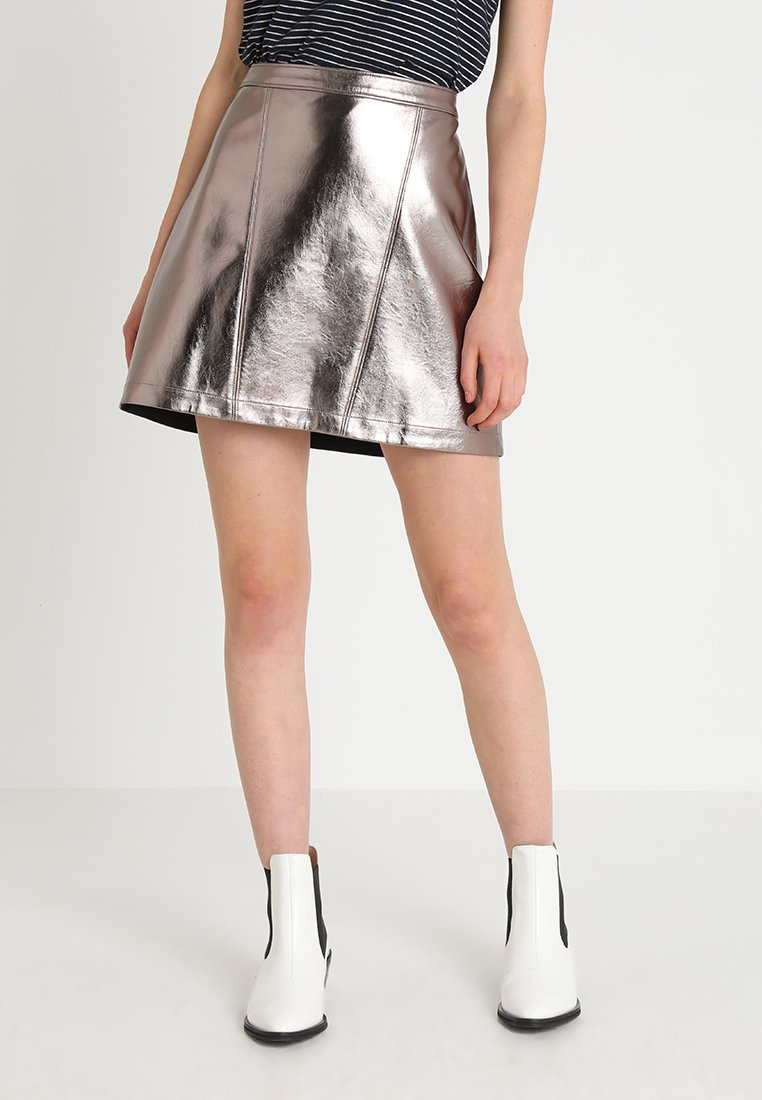 Abercrombie & Fitch - A-line skirt - pewter dark silver metallic