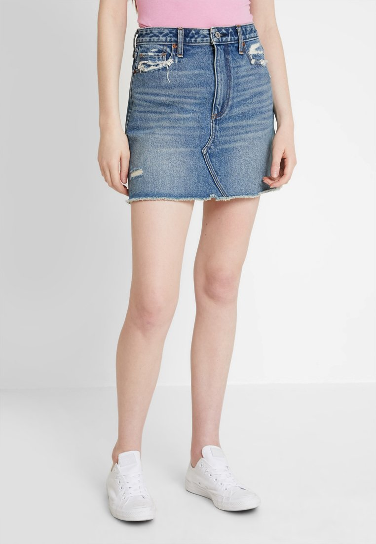 Abercrombie & Fitch - CLASSIC SKIRT - Denim skirt - dark wash