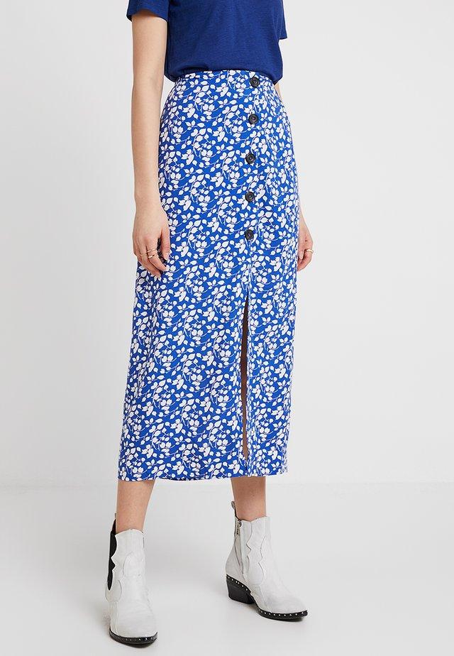 BUTTON SKIRT - Maxi skirt - blue