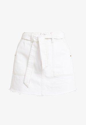 BELTED SKIRT - Denimová sukně - ecru