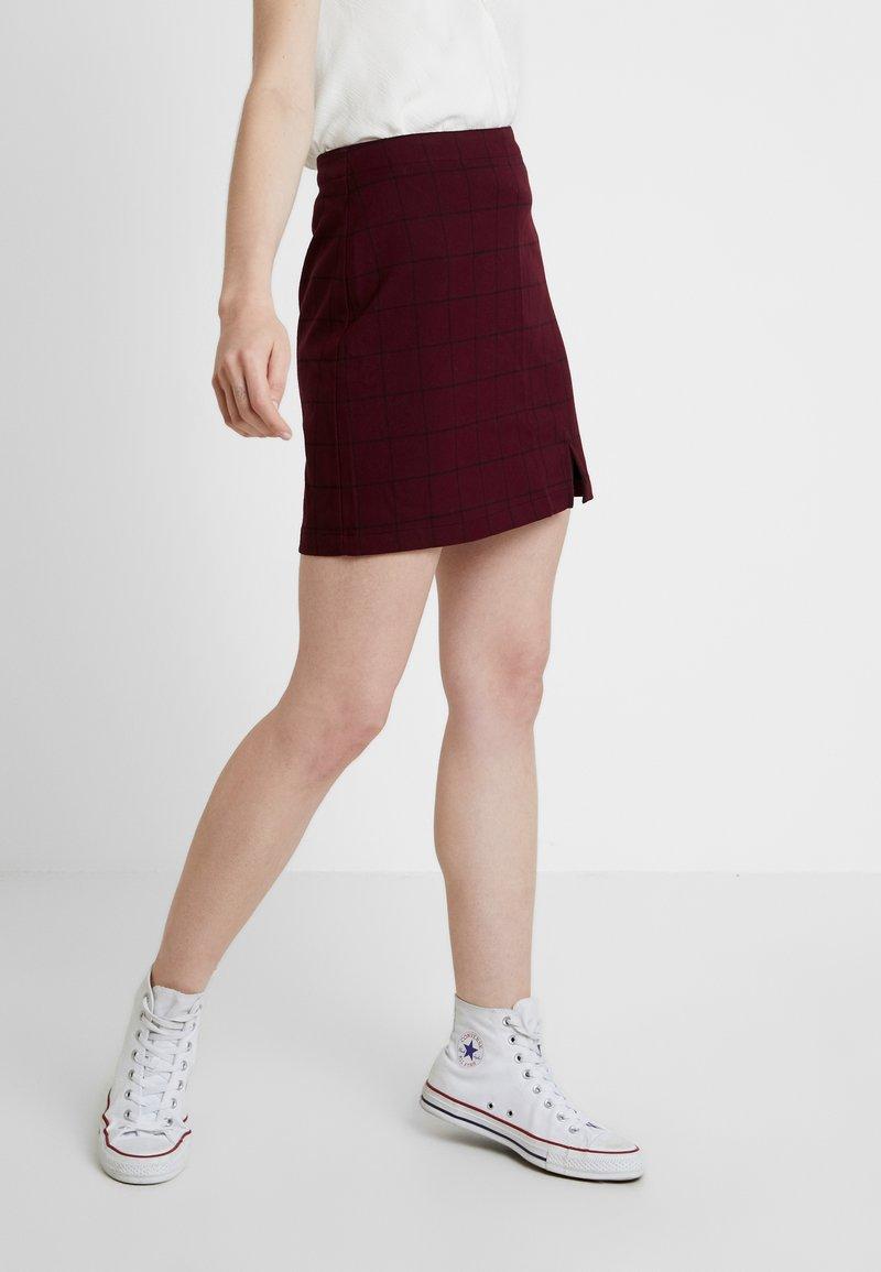 Abercrombie & Fitch - CHECK SKIRT - Mini skirt - purple