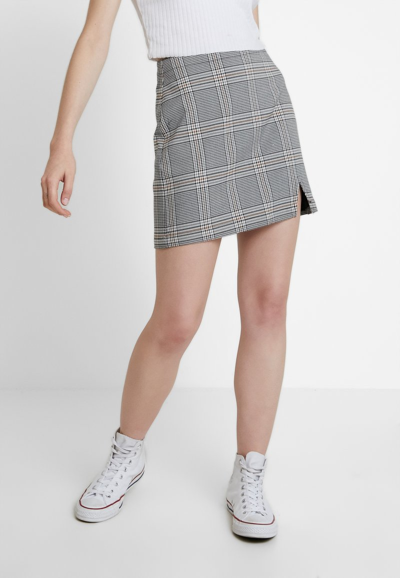 Abercrombie & Fitch - CHECK SKIRT - Spódnica mini - cream
