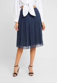 Abercrombie & Fitch - PLEATED MIDI SKIRT - A-lijn rok - navy - 0