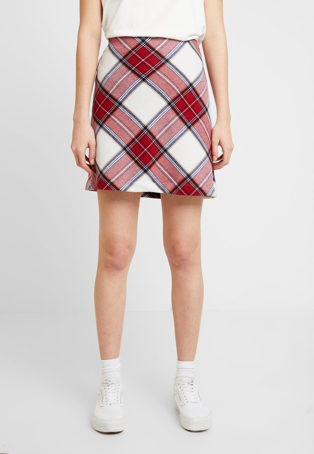 PLAID STRUCTURE MINI - A-line skirt - red/white
