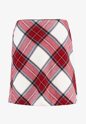 PLAID STRUCTURE MINI - Áčková sukně - red/white