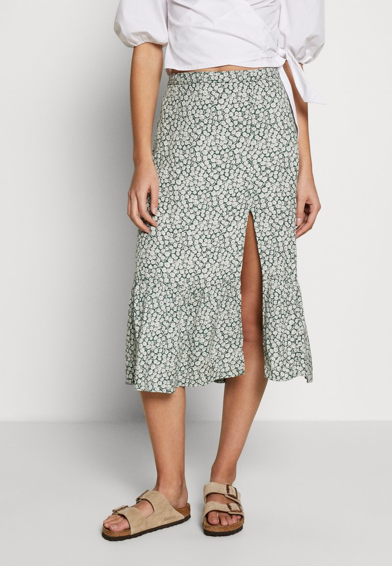 Abercrombie & Fitch - RUFFLE MIDI - Gonna a campana - green floral