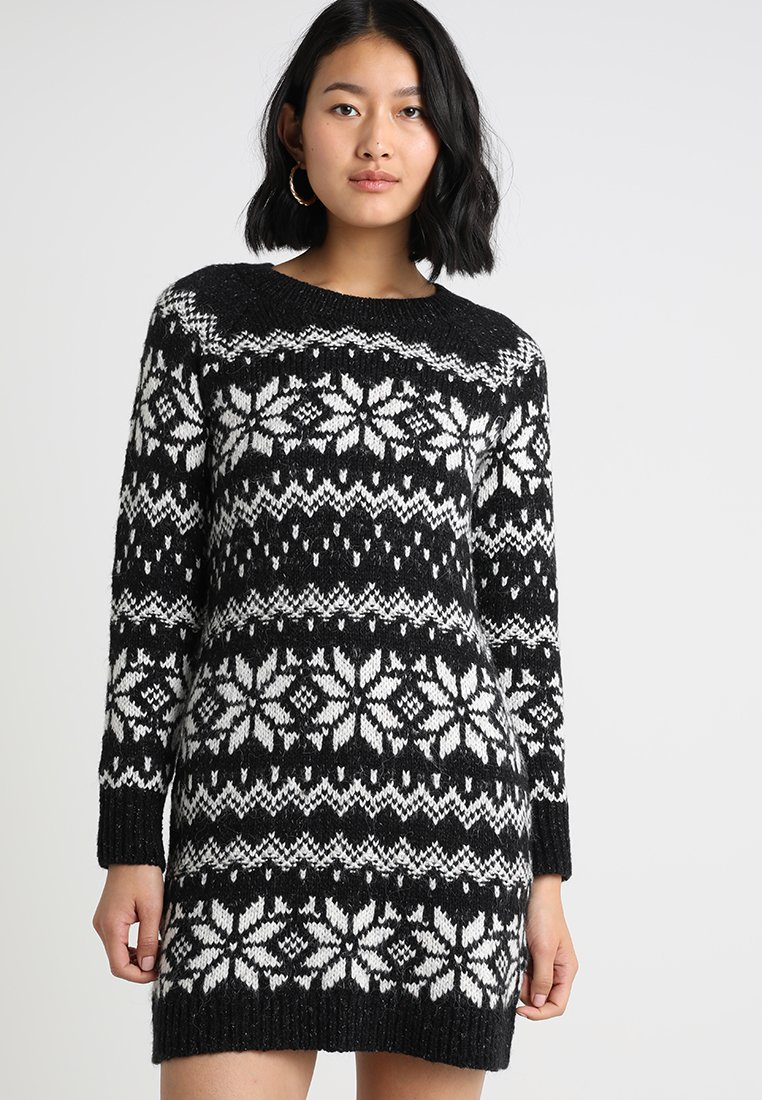Abercrombie & Fitch - FAIRISLE DRESS - Stickad klänning - black