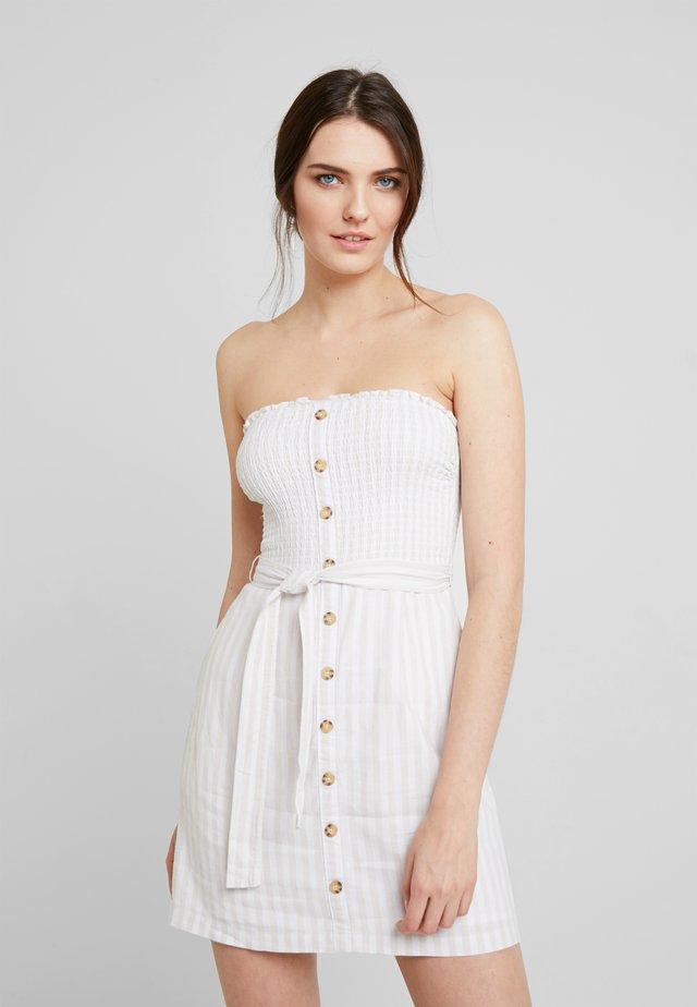 TIE FRONT CUTOUT - Day dress - tan/white