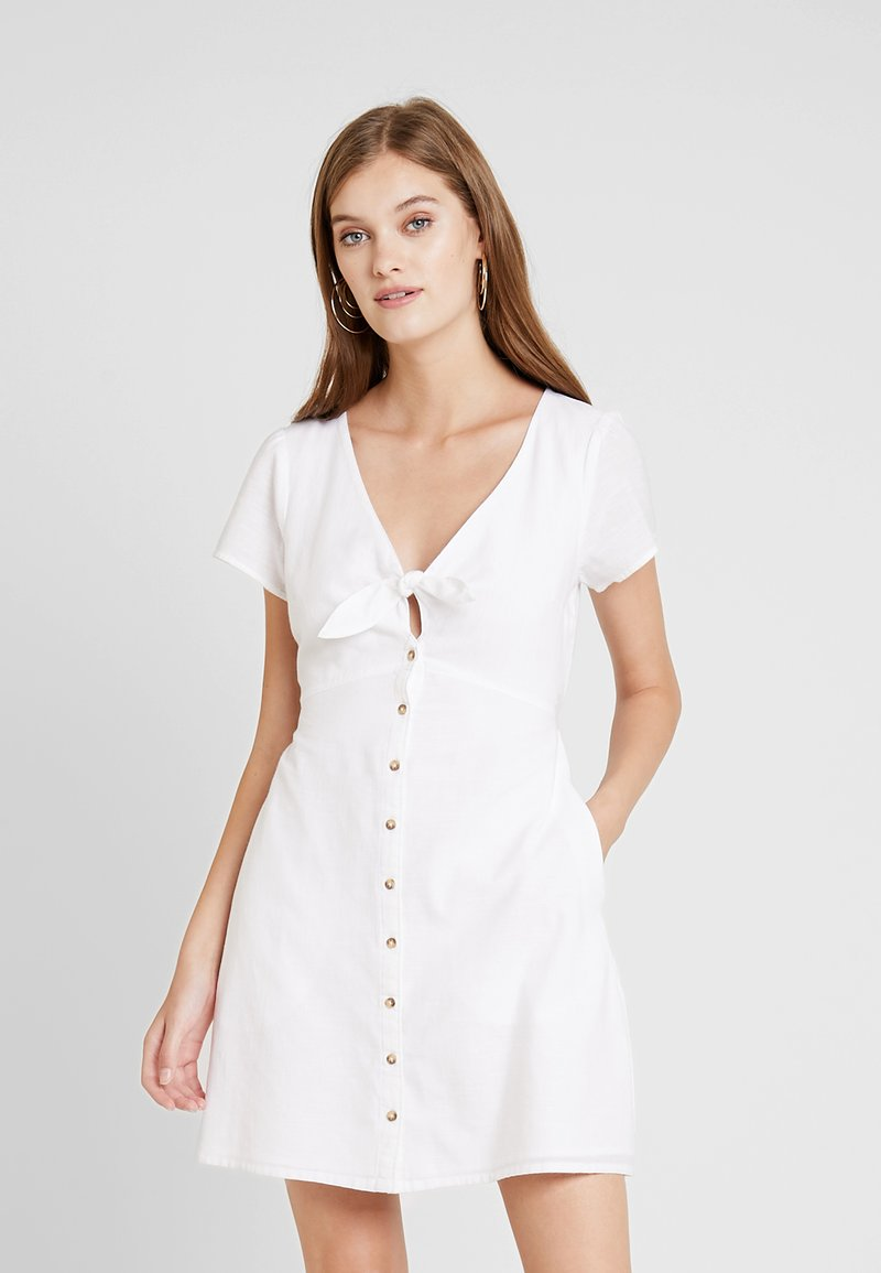 Abercrombie & Fitch - CAMP DRESS - Shirt dress - white solid