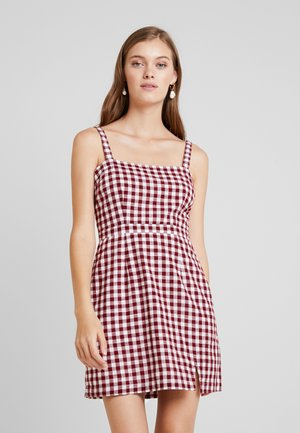 STRAIGHT NECK MINI DRESS - Day dress - red
