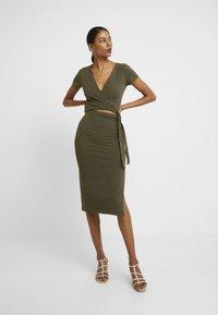 Abercrombie & Fitch - WRAP DRESS - Jersey dress - olive - 2