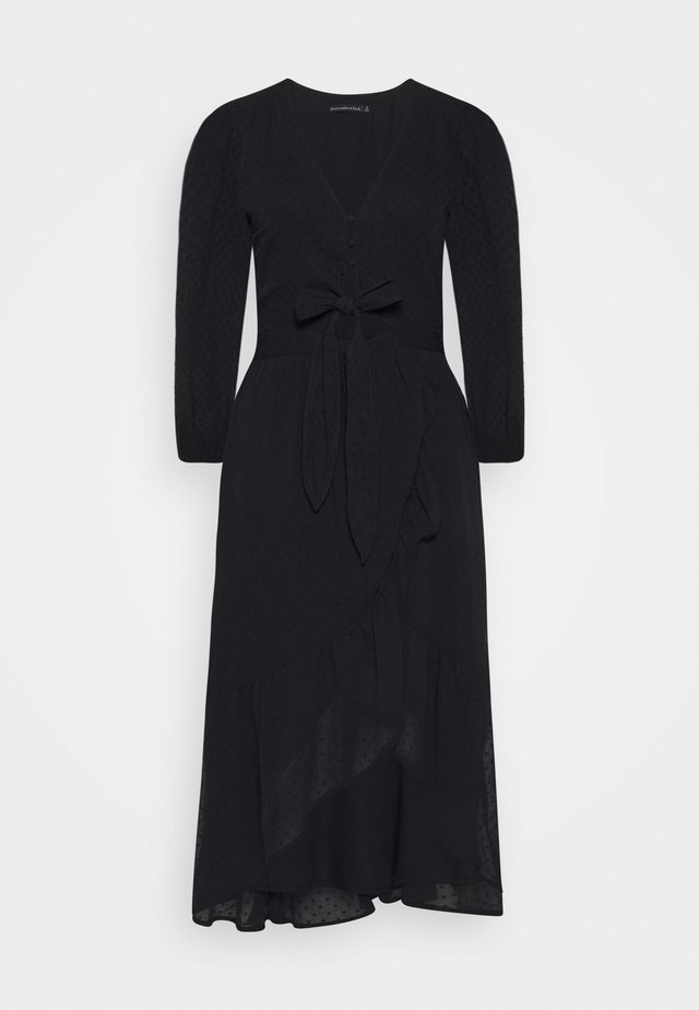TIE FRONT WRAP RUFFLE - Sukienka letnia - black