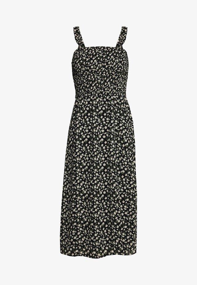 SMOCKED BODICE MIDI - Day dress - black/white